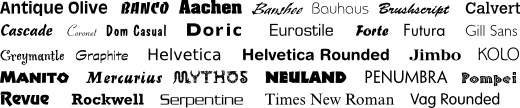 A sample of available sign typefaces