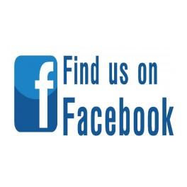 """Find us on Facebook"" slogan"
