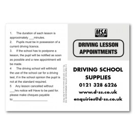 Personalised MSA Pupil Appointment Cards -  Type 2 (Front)